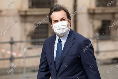 Italian Minister for European Affairs, Vincenzo Amendola, enters Palazzo Chigi before the Council of Ministers while wearing a face mask as a precaution against the spread of corona virus.