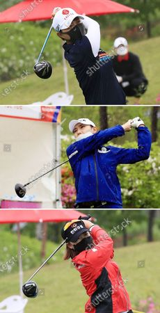 A composite picture of South Korean golfers (top to bottom) Kim Hyo-joo, Kim Min-sun, and Lim Hee-jeong wearing protective face masks as they watch their tee shot during the second round of the KLPGA Championship golf tournament at Lakewood Country Club in Yangju, South Korea, 15 May 2020. The tournament, Korea Ladies Professional Golf Association's (KLPGA) first major of the season, is running from 14 until 17 May 2020 under strict health measures amid the ongoing coronavirus COVID-19 pandemic.