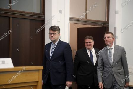 The Minister of Foreign Affairs of Latvia, Edgars Rinkevics (R), the Minister of Foreign Affairs of Estonia, Urmas Reinsalu (L), and the Minister of Foreign Affairs of Lithuania, Linas Linkevicius (C), address to media after their meeting in Riga, Latvia, 15 May 2020. The Foreign Ministers of the Baltic States signed a Memorandum of Understanding on Lifting the Travel Restrictions between Estonia, Latvia and Lithuania for Land, Rail, Air and Maritime Transport and Cooperation amid the COVID-19 Crisis. Free movement between the three Baltic states is enbaled on 15 May for residents of Estonia, Lithuania, and Latvia and for people staying there legally, provided that they show no symptoms of COVID-19.
