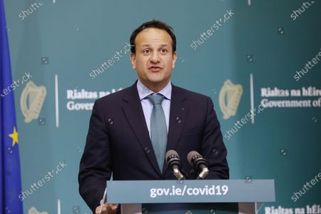 Irish Prime Minister, An Taoiseach Leo Varadkar pictured during a briefing on Phase 1 of the Government's roadmap for lifting restrictions in Dublin, Ireland, 15 May 2020.