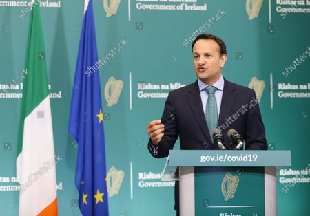 Irish Prime Minister, An Taoiseach Leo Varadkar speaks during a briefing on Phase 1 of the Government's roadmap for lifting restrictions in Dublin, Ireland, 15 May 2020.