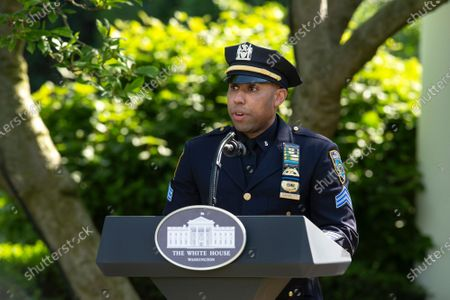 Spencer Garrett, New York City Police Officer, delivers remarks during a Presidential Recognition Ceremony on Hard Work, Heroism, and Hope with United States President Donald J. Trump in the Rose Garden of the White House in Washington D.C., U.S..