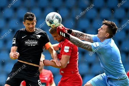 Anthony Losilla (L) of Bochum scores the opening goal during the German Bundesliga Second Division soccer match between VfL Bochum 1848 and 1. FC Heidenheim 1846 at Vonovia Ruhrstadion in Bochum, Germany, 16 May 2020. The Bundesliga and Second Bundesliga are the first professional leagues to resume the season after the nationwide lockdown due to the ongoing Coronavirus (COVID-19) pandemic. All matches until the end of the season will be played behind closed doors.