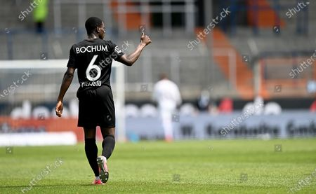 Jordi Osei Tutu of Bochum celebrates after scoring during the German Bundesliga Second Division soccer match between VfL Bochum 1848 and 1. FC Heidenheim 1846 at Vonovia Ruhrstadion in Bochum, Germany, 16 May 2020. The Bundesliga and Second Bundesliga are the first professional leagues to resume the season after the nationwide lockdown due to the ongoing Coronavirus (COVID-19) pandemic. All matches until the end of the season will be played behind closed doors.