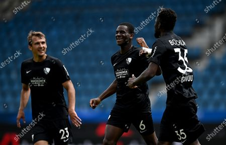 Jordi Osei Tutu (C) of Bochum celebrates after scoring during the German Bundesliga Second Division soccer match between VfL Bochum 1848 and 1. FC Heidenheim 1846 at Vonovia Ruhrstadion in Bochum, Germany, 16 May 2020. The Bundesliga and Second Bundesliga are the first professional leagues to resume the season after the nationwide lockdown due to the ongoing Coronavirus (COVID-19) pandemic. All matches until the end of the season will be played behind closed doors.