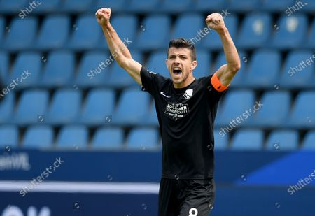 Stock Image of Anthony Losilla of Bochum celebrate victory after the German Bundesliga Second Division soccer match between VfL Bochum 1848 and 1. FC Heidenheim 1846 at Vonovia Ruhrstadion in Bochum, Germany, 16 May 2020. The Bundesliga and Second Bundesliga are the first professional leagues to resume the season after the nationwide lockdown due to the ongoing Coronavirus (COVID-19) pandemic. All matches until the end of the season will be played behind closed doors.