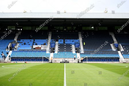 A general view of the Vonovia Ruhrstadion before the Second Bundesliga soccer match between VfL Bochum 1848 and 1. FC Heidenheim 1846 at Vonovia Ruhrstadion in Bochum, Germany, 16 May 2020. The Bundesliga and Second Bundesliga are the first professional leagues to resume the season after the nationwide lockdown due to the ongoing Coronavirus (COVID-19) pandemic. All matches until the end of the season will be played behind closed doors.