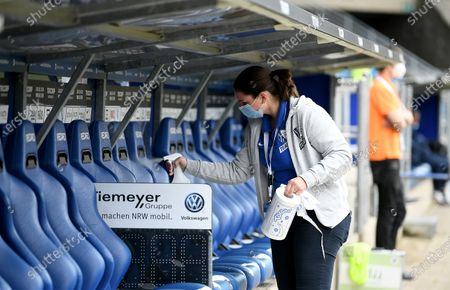 The players bench is desinfected before the German Bundesliga Second Division soccer match between VfL Bochum 1848 and 1. FC Heidenheim 1846 at Vonovia Ruhrstadion in Bochum, Germany, 16 May 2020. The Bundesliga and Second Bundesliga are the first professional leagues to resume the season after the nationwide lockdown due to the ongoing Coronavirus (COVID-19) pandemic. All matches until the end of the season will be played behind closed doors.