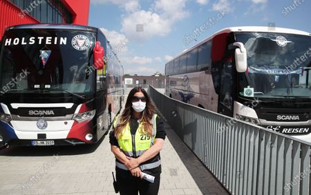 Holstein Kiel's team busses are seen before the Second Bundesliga match between SSV Jahn Regensburg and Holstein Kiel at Continental Arena in Regensburg, Germany, 16 May 2020. The Bundesliga and Second Bundesliga are the first professional leagues to resume the season after the nationwide lockdown due to the ongoing Coronavirus (COVID-19) pandemic. All matches until the end of the season will be played behind closed doors.