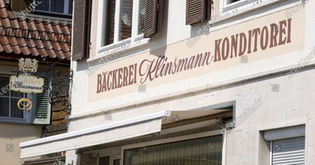 Stock Image of A sign over the entrance of the closed Klinsmann bakery and konditorei in Stuttgart, Germany, 16 May 2020. According to media reports, the Klinsmann bakery will be closed on 01 June 2020 until further notice. The bakery was opened in 1978 by the parents of former professional footballer Juergen Klinsmann.