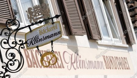 Stock Photo of A sign over the entrance of the closed Klinsmann bakery and konditorei in Stuttgart, Germany, 16 May 2020. According to media reports, the Klinsmann bakery will be closed on 01 June 2020 until further notice. The bakery was opened in 1978 by the parents of former professional footballer Juergen Klinsmann.