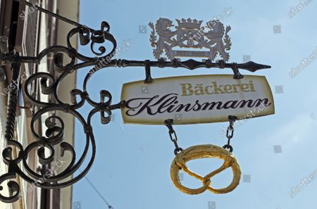 Stock Picture of A sign over the entrance of the closed Klinsmann bakery and konditorei in Stuttgart, Germany, 16 May 2020. According to media reports, the Klinsmann bakery will be closed on 01 June 2020 until further notice. The bakery was opened in 1978 by the parents of former professional footballer Juergen Klinsmann.