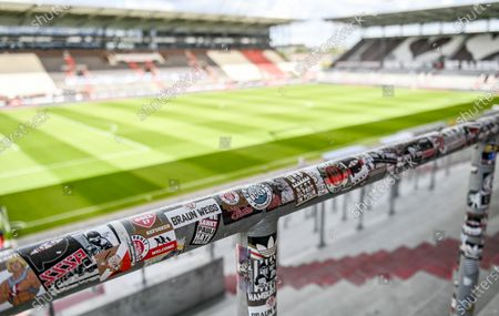 General view of the stadium prior to the German Bundesliga second division soccer match between FC St. Pauli and 1. FC Nuremberg in Hamburg, Germany, 17 May 2020. The Bundesliga and Second Bundesliga is the first professional league to resume the season after the nationwide lockdown due to the ongoing Coronavirus (COVID-19) pandemic. All matches until the end of the season will be played behind closed doors.