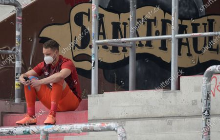 Goalkeeper of FC Nuremberg, Christian Mathenia, reacts after the German Bundesliga second division soccer match between FC St. Pauli and 1. FC Nuremberg in Hamburg, Germany, 17 May 2020. The Bundesliga and Second Bundesliga is the first professional league to resume the season after the nationwide lockdown due to the ongoing Coronavirus (COVID-19) pandemic. All matches until the end of the season will be played behind closed doors.