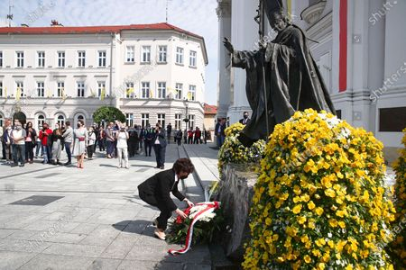 Polish Sejm Speaker Elzbieta Witek lays flowers at a St. John Paul II monument in Wadowice, Poland, 17 May 2020. St. John Paul II, whose original name is Karol Jozef Wojtyla, the first non-Italian pope in 455 years was born in Wadowice, Poland, 18 May 1920. Poland has planned church services and online events to mark the 100th anniversary of John Paul II, according to media reports.