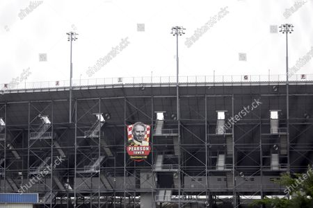 Part of the Darlington Raceway grandstand is void of fans, in Darlington, S.C. NASCAR, which has been idle since March 8 because of the coronavirus pandemic, makes its return with the Real Heroes 400 Nascar Cup Series auto race Sunday. No spectators are allowed, and race teams are only permitted 16 individuals per car, including the driver, owner, crew chief, crew members, spotter and hauler driver