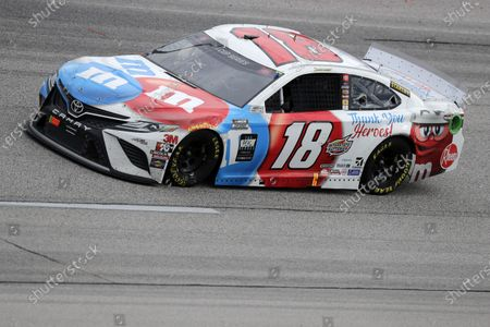 Kyle Busch (18) drives during the NASCAR Cup Series auto race, in Darlington, S.C