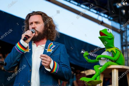 "Jim James and Kermit the Frog perform during ""If I Had A Song"", the finale the 60th annual Newport Folk Festival 2019 at Fort Adams State Park on July 28, 2019 in Newport, Rhode Island."