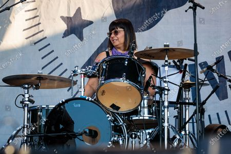 """Janet Weiss performs during """"If I Had A Song"""", the finale the 60th annual Newport Folk Festival 2019 at Fort Adams State Park on July 28, 2019 in Newport, Rhode Island."""