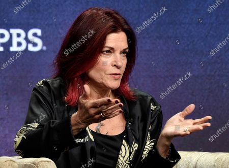 """Rosanne Cash, a participant in the upcoming PBS documentary series """"Country Music,"""" answers a reporter's question during a panel discussion during the 2019 Television Critics Association Summer Press Tour at the Beverly Hilton in Beverly Hills, Calif. Cash's latest honor is a medal previously awarded to Toni Morrison, Stephen Sondheim and Georgia O'Keeffe among others. The singer-songwriter is this year's winner of the Edward MacDowell Medal, presented by the MacDowell artist colony, which announced the prize"""