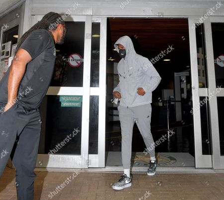 Stock Photo of Seattle Seahawks corner Quinton Dunbar makes bail and is seen here leaving the Broward County Jail