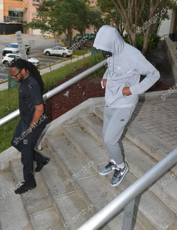 Stock Image of Seattle Seahawks corner Quinton Dunbar makes bail and is seen here leaving the Broward County Jail