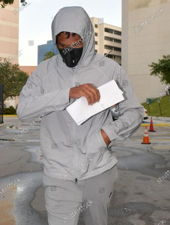 Stock Picture of Seattle Seahawks corner Quinton Dunbar makes bail and is seen here leaving the Broward County Jail