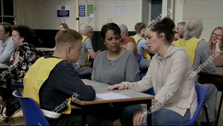 Ep 10067 Wednesday 27th May 2020 Shona Platt's, as played by Julia Goulding, key worker Alice, as played by Bucko Dhillon-Woolley, listens in horror as Clayton, as played by Callum Harrison, does his best to poison her mind against David.