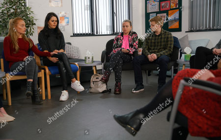 Ep 10063 Monday 18th May 2020 As Gemma Winter, as played by Dolly-Rose Campbell, talks candidly to the support group about her nightmares and how she's imagined hurting her babies, she's assured she's not alone. Also pictured Chesney Brown, as played by Sam Aston.