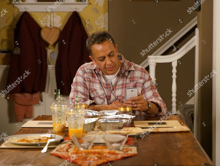 Stock Image of Ep 10073 Wednesday 10th June 2020 Dev Alahan, as played by Jimmi Harkishin, puts on a brave face and orders a celebratory take-out for Asha Alahan, as played by Tanisha Gorey, and Aadi to celebrate Asha's new positive attitude about school. But as Mary and the twins enjoy the food Dev secretly logs on to a 'quick loans' website.