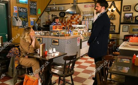 Ep 10074 Friday 12th June 2020 Spotting Laura, as played by Kel Allen, in the cafe, Adam Barlow, as played by Sam Robertson, surreptitiously removes his wedding ring and turning on the charm, offers to buy her a coffee.