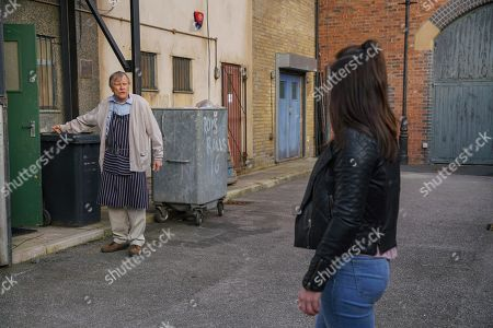 Stock Picture of Ep 10069 Monday 1st June 2020 As the Platts look for Shona Platt, as played by Julia Goulding, Roy Cropper, as played by David Neilson, finds her lurking outside the cafe and ushers her in although it's clear she doesn't recognise him.