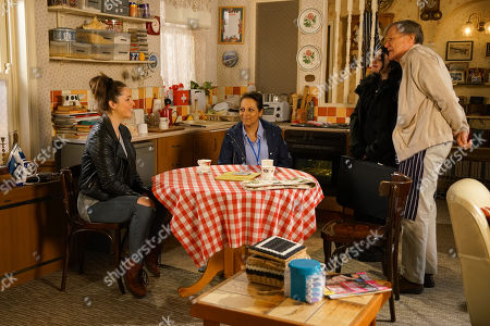 Stock Photo of Ep 10070 Wednesday 3rd June 2020 Roy Cropper, as played by David Neilson, invites Shona Platt, as played by Julia Goulding, to move in and offers to show her and Alice, as played by Bucko Dhillon-Woolley, around his flat.