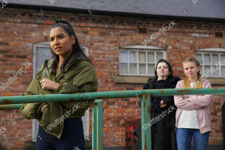 Stock Image of Ep 10071 Friday 5th June 2020 Spotting Corey Brent and his mates, Asha Alahan, as played by Tanisha Gorey, plucks up the courage and heading over she tears a strip off him for the appalling way he's treated her. Summer Spellman, as played by Matilda Freeman, and Nina, as played by Mollie Gallagher, are impressed.