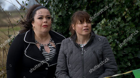 Ep 8795 Monday 25th May 2020 Vinny chats to new friend 'Alex' at the Dingles but a careless comment from Paul suggests he knows Mandy Dingle, as played by Lisa Riley. Vinny is confused and queries and Paul does his best to cover. As Paul leaves, Mandy spots him and hides so she is not seen. She's seething Paul's getting closer to Vinny. Also pictured Lydia Dingle, as played by Karen Blick.