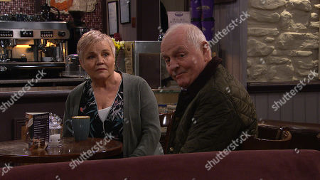Ep 8798 Monday 1st June 2020 Brenda Hope, as played by Lesley Dunlop, and Pollard, as played by Chris Chittell, get a shock when the Cafe gets egged.