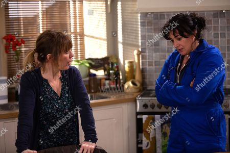 Ep 8798 Monday 1st June 2020 Rhona Goskirk, as played by Zoe Henry, and Moira Dingle, as played by Natalie J Robb, clash during a client meeting with restaurant boss, Ricky. Moira says his proposed meat order is impossible to fulfil, leaving Rhona hurt and angry at not being listened to. Rhona suggests drawing a line in their partnership before heading out.