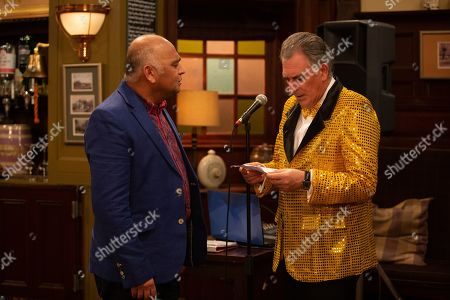 Ep 8798 Monday 1st June 2020 Rishi Sharma, as played by Bhasker Patel, shows Wendy's love letter to Bob Hope, as played by Tony Audenshaw, who can't help but be shocked by what he reads.