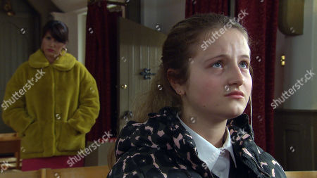 Ep 8800 Friday 5th June 2020 Kerry Wyatt, as played by Laura Norton, is pained as she overhears an emotional Amelia Spencer, as played by Daisy Campbell, confessing to God that she egged Brenda's windows.
