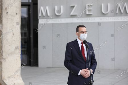 Polish Prime Minister Mateusz Morawiecki attends a handover ceremony a piece of the Berlin Wall to the Museum of John Paul II and Primate Wyszynski, as part of celebrations the 100th birth anniversary of the Pope John Paul II in Warsaw, Poland, 18 May 2020. Pope John Paul II born as Karol Jozef Wojtyla on 18 May 1920 in Wadowice, was head of the Catholic Church and sovereign of the Vatican City State from 1978 to 2005.