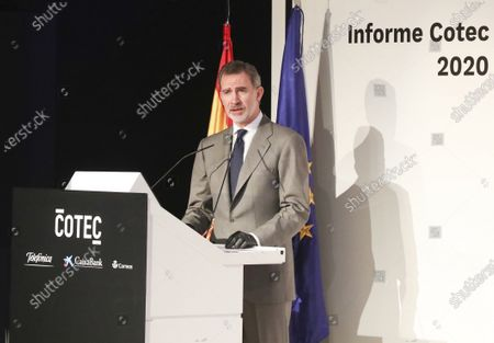 Stock Photo of King Felipe VI attends the presentation of the CETOTEC 2020 report at Telefonica Headquarters