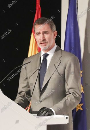 King Felipe VI attends the presentation of the CETOTEC 2020 report at Telefonica Headquarters