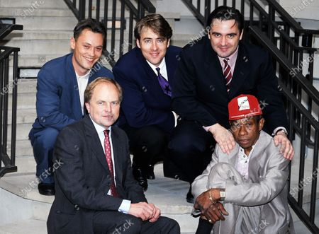 L -R Terry Christian, Clive Anderson, Jonathan Ross, Tony Slattery and Norman Beaton - BBC Radio c.1992