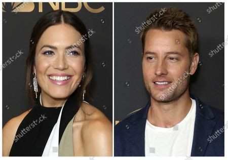 """This combination photo shows Mandy Moore, left, and Justin Hartley at the NBC and Universal Television Emmy Nominee Celebration in West Hollywood, Calif. Moore and Hartley, co-stars on the NBC series """"This is Us,"""" will co-host NBC's annual Red Nose Day special on May 21"""