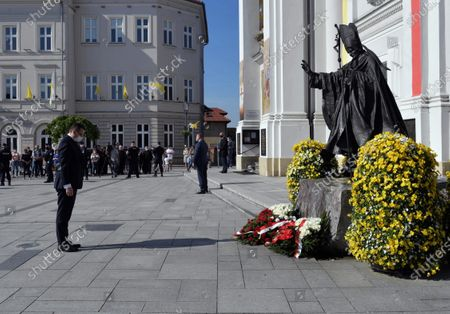 Polish Prime Minister Mateusz Morawiecki attends the celebrations the 100th birth anniversary of the Pope Saint John Paul II in Wadowice, Poland, 18 May 2020. Pope John Paul II was born as Karol Jozef Wojtyla on 18 May 1920 in Wadowice. He was head of the Catholic Church and sovereign of the Vatican City State from 1978 to 2005, and canonised on 27 April 2014.