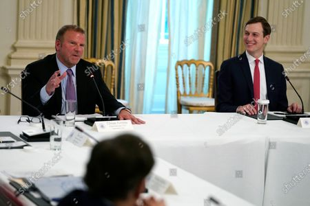 Tilman Fertitta, chairman and CEO of Landry's Inc., speaks during a meeting with restaurant industry executives about the coronavirus response, in the State Dining Room of the White House, in Washington, as White House senior adviser Jared Kushner listens