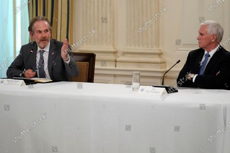 Thomas Keller, chef and owner of Thomas Keller Restaurant Group, speaks during a meeting with restaurant industry executives about the coronavirus response, in the State Dining Room of the White House, in Washington, as Vice President Mike Pence listens