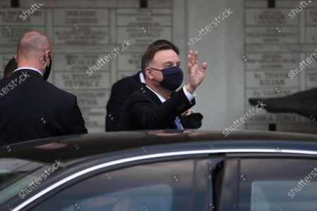 Stock Picture of Polish President Andrzej Duda (C) after the mass at the Sanctuary of St. John Paul II in Krakow, Poland, 18 May 2020. Pope John Paul II was born as Karol Jozef Wojtyla on 18 May 1920 in Wadowice. He was head of the Catholic Church and sovereign of the Vatican City State from 1978 to 2005, and canonised on 27 April 2014.