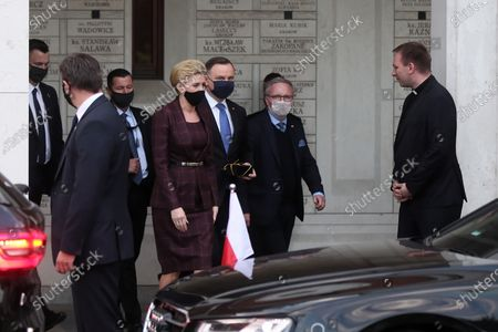 Polish President Andrzej Duda (3R) and his wife, Agata Kornhauser-Duda (4R) after the mass at the Sanctuary of St. John Paul II in Krakow, Poland, 18 May 2020. Pope John Paul II was born as Karol Jozef Wojtyla on 18 May 1920 in Wadowice. He was head of the Catholic Church and sovereign of the Vatican City State from 1978 to 2005, and canonised on 27 April 2014.