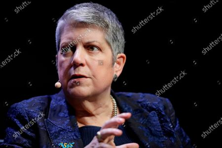 University of California President Janet Napolitano at a meeting of The Commonwealth Club in San Francisco. The University of California is imposing a system-wide freeze on salaries of its non-unionized employees due to enormous financial losses caused by the coronavirus pandemic, Napolitano said . She is taking a 10% voluntary pay cut, as are the system's 10 chancellors, she said in a statement that was sent to faculty and staff systemwide